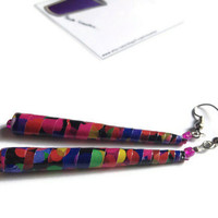 Drop Earrings - Black with Coloured Spots - Bright, Geometric, Abstract, Statement
