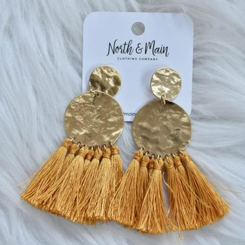 Textured Metal Tassel Earring, Mustard