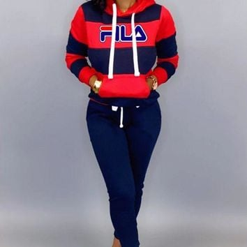 FILA Women Leisure Round Collar Logo Print Pullover Sweater Pants Trousers Set Two-Piece