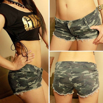 Sexy Women's Camouflage Jeans Low Waist Short Hot Pants Denim Dukes Shorts  D_L = 1713190084