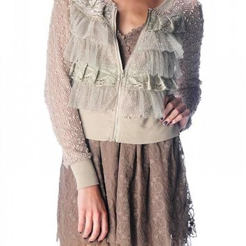 Jenna Ruffled Lace Jacket