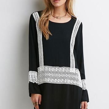 Contrast Crochet-Paneled Shift Dress