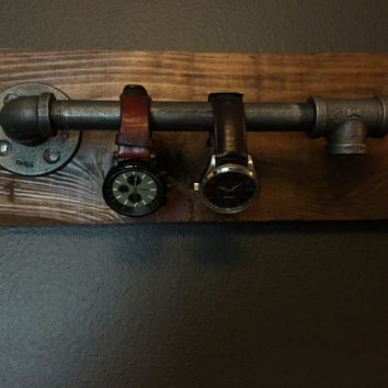 Rustic Brown Industrial Wall Watch Holder 100% Pine Wood **FREE SHIPPING**