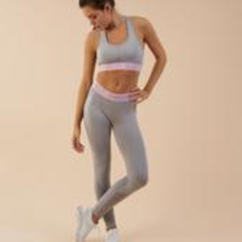 Gymshark Flex Leggings - Light Grey Marl/Chalk Pink