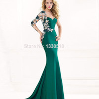 Evening Dresses Mermaid Embroidery One-shoulder Asymmetric Long Party Dress