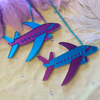 Blue and Purple Airplane Laser Cut Mirrored Acrylic Necklace