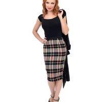 Black, Beige & Red High Waisted Plaid Pencil Skirt