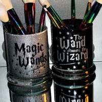 2PC Harry Potter Wand Makeup Brush Holder Set - YOU CUSTOMIZE!