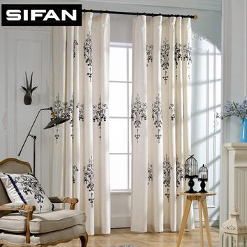 2017 New High Quality Embroidered Blackout Curtains for Living Room  Line Blackout Window Curtain for Bedroom Tende Cortinas
