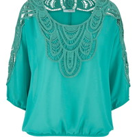 Crochet Overlay Chiffon Top - Sea Green