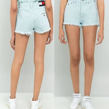 tommy jeans 90 s high waist denim shorts