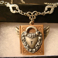 Steampunk Flying Book Locket with Heart Lock and Wings in Antique Copper (1090)