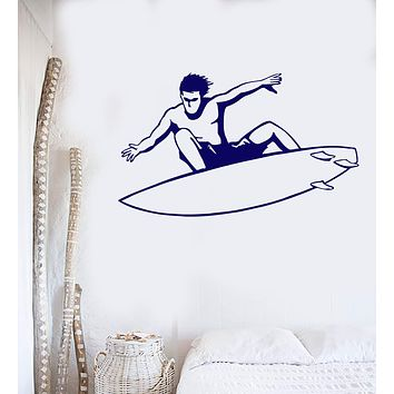 Vinyl Wall Decal Surfer Extreme Water Sports Surfing Board Decor Stickers Unique Gift (ig020)