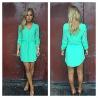 Mint 3/4 Sleeve Waist Tie Dress