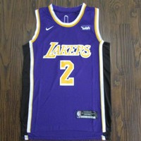 Men's Los Angeles Lakers #2 Lonzo Ball Statement Edition Purple Jerseys - Best Deal Online