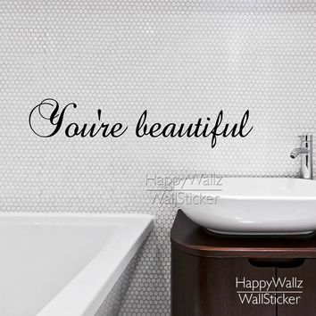 You're Beautiful Quote Wall Sticker Motivational Quote Wall Decal DIY Removable Easy Decors Vinyl Wall Art 592Q