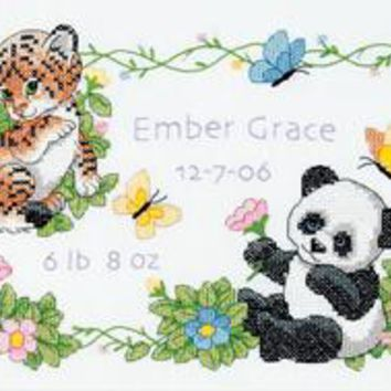 "Baby Animals Birth Record Dimensions/Baby Hugs Stamped Cross Stitch Kit 12""X9"""