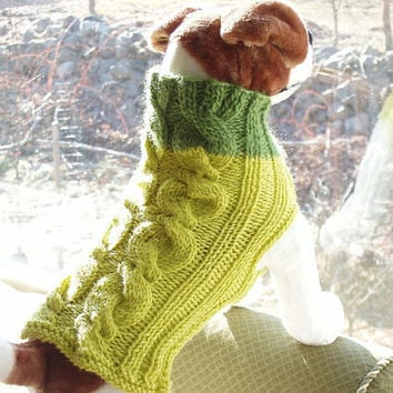 Dog Sweater Hand Knit Avacado with Lime Cable Merino by jenya2