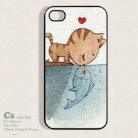 Cat Fall in Love with Fish Case Cover for Apple iPhone 4