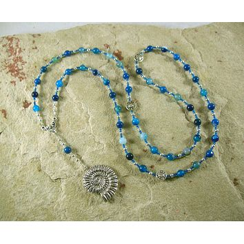 Poseidon Prayer Bead Necklace in Blue Agate: Greek God of the Sea