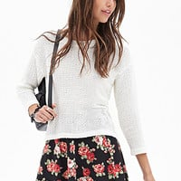 FOREVER 21 Rose Print Skater Skirt Black/Red