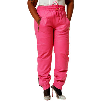 Womens Unisex Pink Leather Sweat Pants / Joggers Relaxed Fit Smooth Nappa Sheepskin Red Liner Unisex