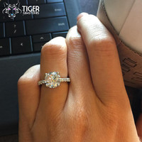 3.25 Carat Solitaire Engagement Ring With Accents, Man Made Diamond Simulants, Promise Ring, Wedding, Bridal, Sterling Silver, Anniversary