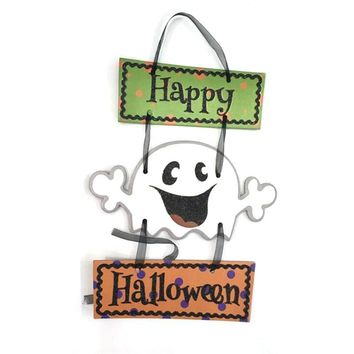 Happy Halloween Skeleton Pumpkin Ghost Bat Tri-linked Paper Pendant Halloween Decorative Ornaments Party DIY For Kid Gift Supply