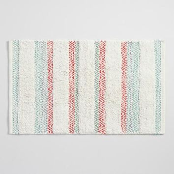 Coral and Aqua Striped Geometric Shag Bath Mat