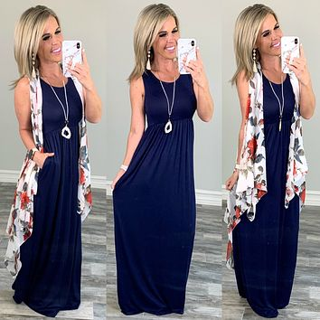 I'll Be By the Pool Maxi Dress - Navy