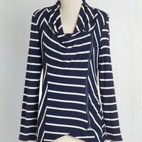 Nautical Short Length Long Sleeve Train Station Greeting Cardigan by ModCloth