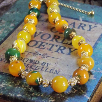 Yellow Agate, Gold Plated Brass, Crystal Necklace