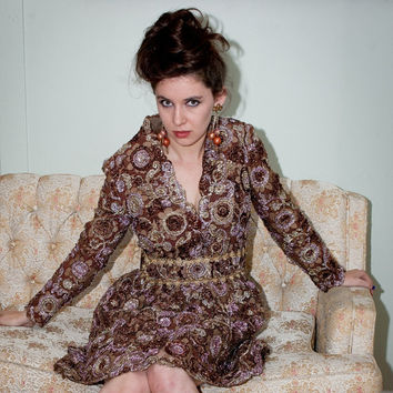 Vintage 60s Party Dress w/Tinsel Brocade & Brown by BasyaBerkman
