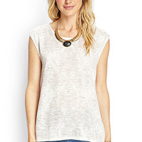 LOVE 21 Printed Knit Muscle Tee Cream/Mauve