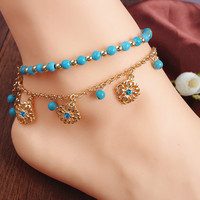 Wind Turquoise Beaded Tassel Blue Diamond Anklet