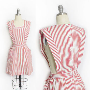Vintage 1960s Candy Striper Uniform - Pinafore Red White Sanforized Cotton Stripe Hospital Dress 50s - Small