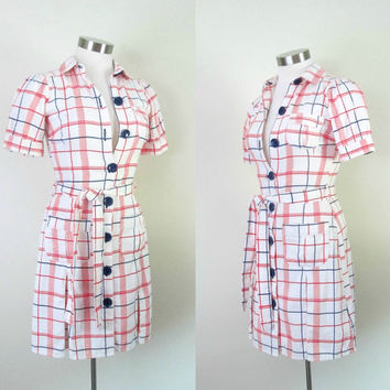 Vintage Betsey Johnson Cotton Pique Dress Red White Blue Plaid Fitted Mini Shirtdress Size 2