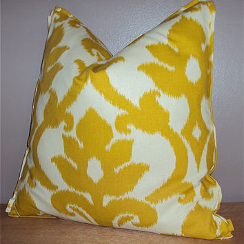 18x18 Citrine Yellow Ikat Damask Print Decorative Pillow Cover - Same Fabric Both Sides