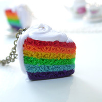 Rainbow Cake Necklace | Polymer Clay | Realistic Food | Miniatures | Sterling Silver, Silver-Plated or Antiqued Brass Chain