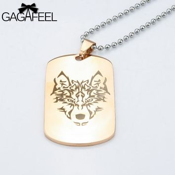 GAGAFFEL Military Army Necklace Dog Tag Custom Engrave Logo Stainless Steel Gold Color Card Pendant Women Men Lover Jewelry