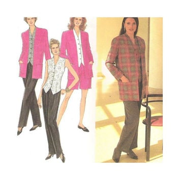Uncut Simplicity Pattern 8553 Misses Pants or Shorts Top Lined Jacket Size 12 14 16