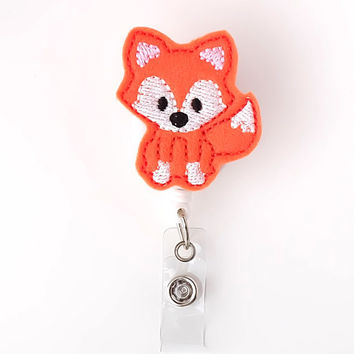 Baby Orange Fox - Felt Badge Reels - Name Badge Holders - Cute Badge Reels - Unique Retractable ID Badge Holder - RN Badge - BadgeBlooms