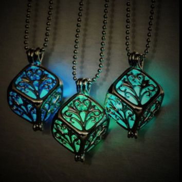 Magic Fairy Glow Sphere in Cube Necklace