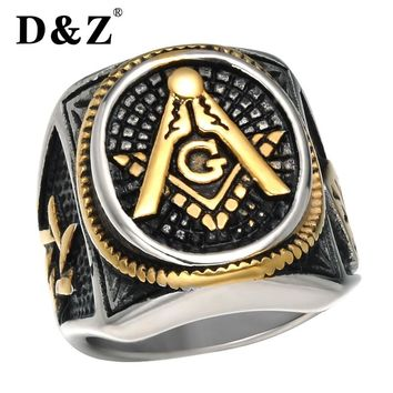 D&Z Vintage Freemasonry Masonic Rings of Men Gold Silver Stainless Steel Master Punk Retro Free Masonic Signet Ring Male Jewelry