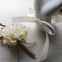 Sola Carnation Flower Wedding Boutonniere, Made to Order.