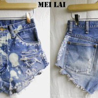Shredded and Bleached Native Print Shorts by MeiLai on Etsy