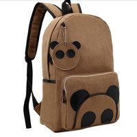 1pcs/lot Winter Vintage Faux Suede Panda Backpack Teenagers High Quality animal big Schoolbag Student Unisex 2 colors brown grey