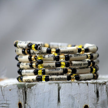 Macbeth by Shakeapeare - Stacking Wrap Bracelet - Memory Wire - Upcycled Book - Black and Yellow