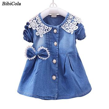Summer Hot-selling Kids Girls Dress Denim Lace Long Sleeve Casual Dress Clothes Children Girls Cotton Jeans Dresses