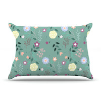 "Louise ""Flora"" Flowers Green Pillow Case"
